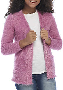 Girls 4-8 Long Sleeve Fuzzy Cardigan