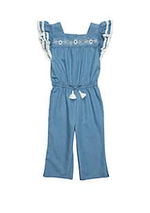 TRUE CRAFT Girls 4-8 Flutter Sleeve Crop Jumpsuit