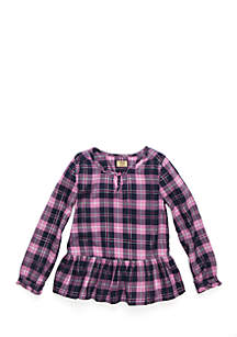 Girls 4-8 Long Sleeve Plaid Peplum Top