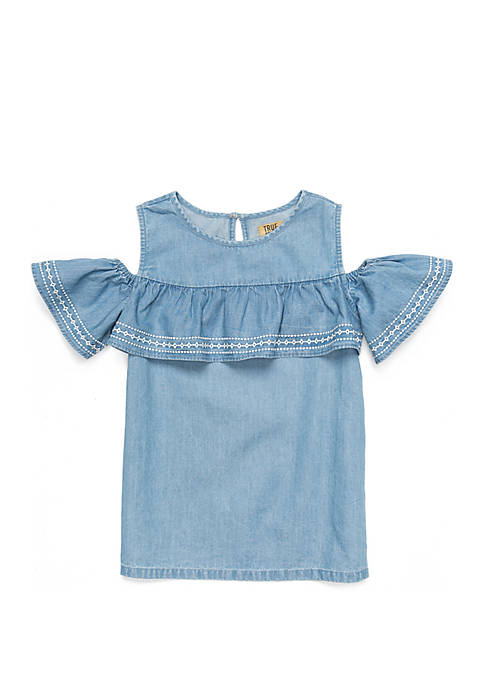 Girls 4-8 Short Sleeve Cold Shoulder Top