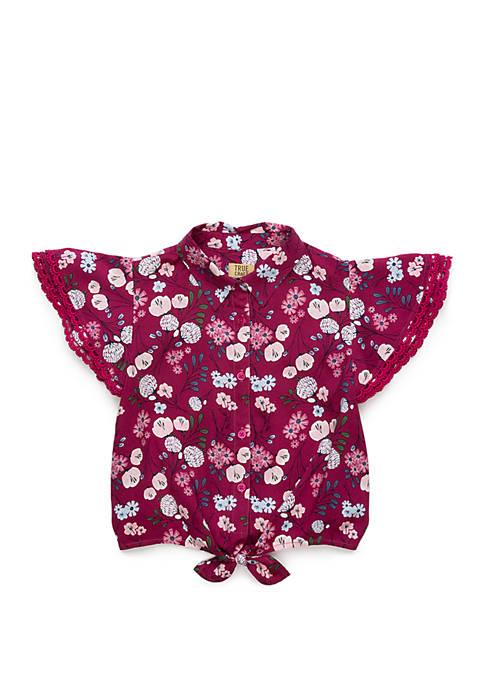 TRUE CRAFT Girls 4-6x Flounce Sleeve Shirt