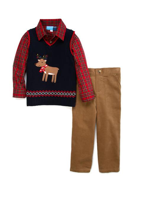 Boys 4-8 Reindeer Vest Shirt and Pants Set