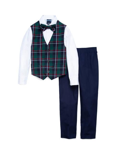 Boys 4-7 Holiday Plaid Vest Set