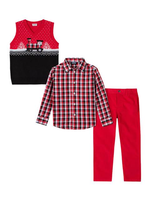 Boys 4-7 Train Fair Isle Sweater Vest Set