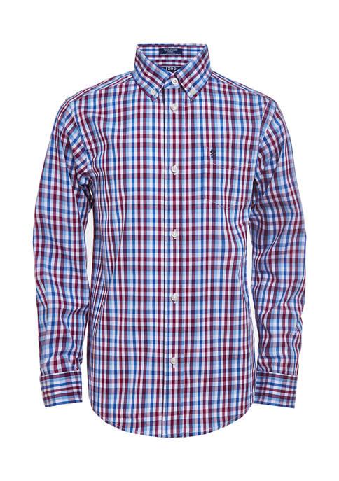 Boys 8-20 Long Sleeve Stretch Bighorn Plaid Button Down Shirt