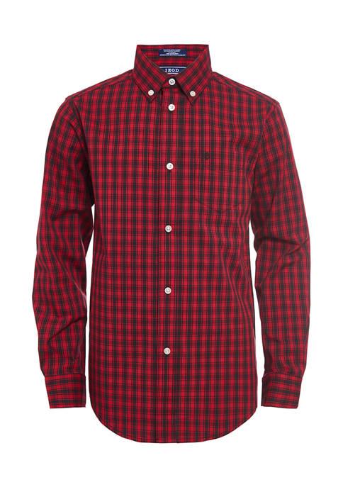 IZOD Boys 8-20 Mini Buffalo Plaid Shirt