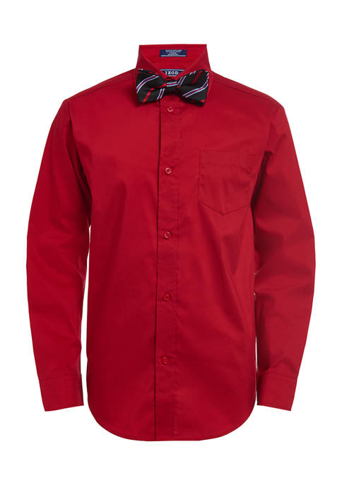 Boys 8-20 Long Sleeve Stretch Poplin Shirt and Bowtie