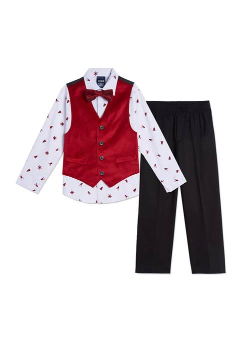 IZOD Boys 4-7 Holiday Velvet Vest Set