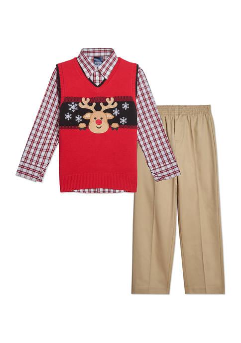 Boys 4-7 Holiday Deer Sweater Vest Set