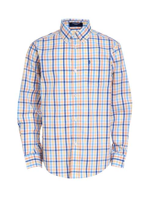 Boys 8-20 Stretch Long Sleeve Beach Plaid Shirt