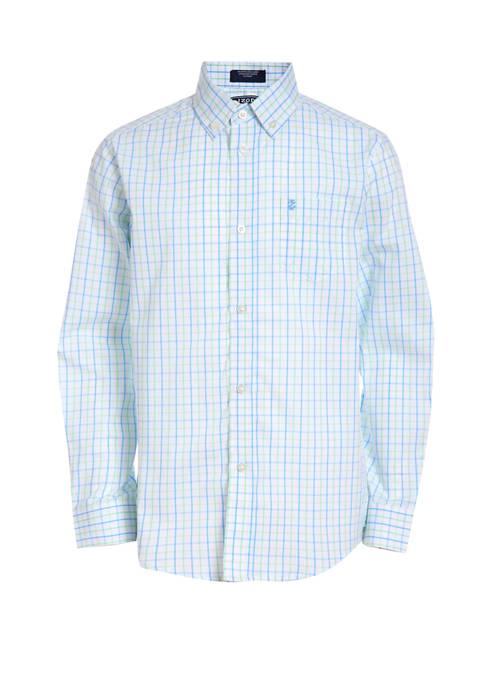 Boys 8-20 Long Sleeve Stretch Tattersall Shirt
