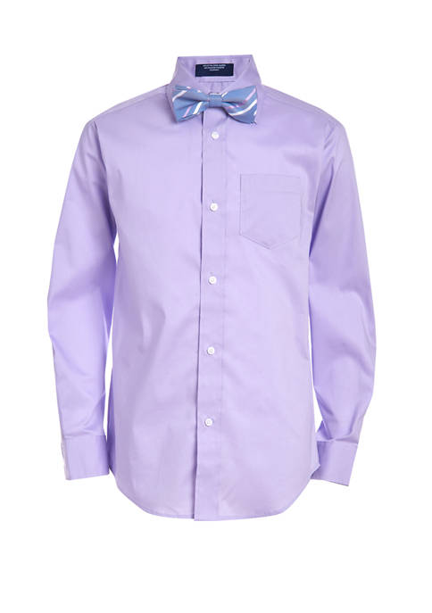 Boys 4-7 Stretch Poplin Hanging Shirt and Bow Tie