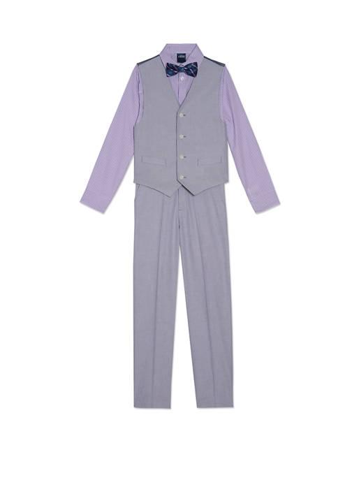 Boys 8-20 Gray Oxford Vest Set
