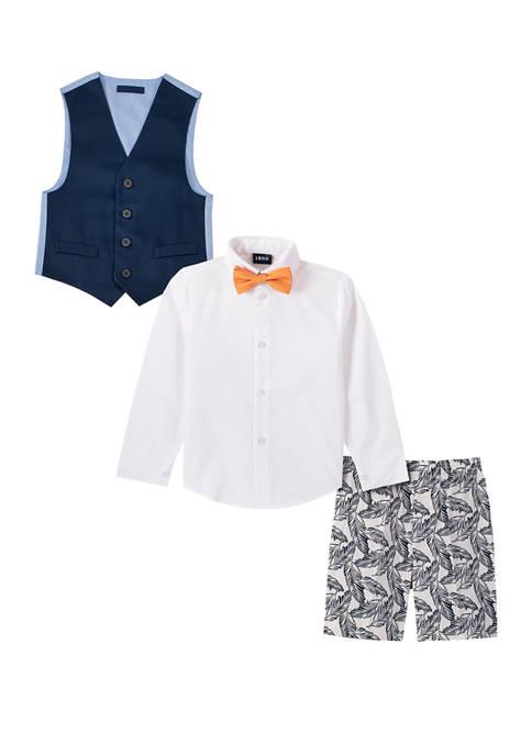 IZOD Boys 4-7 Twill/Printed Shorts and Vest Set