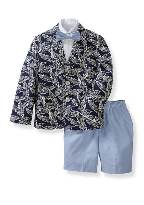 Toddler Boys Tropical Palm Print Oxford Shorts Set