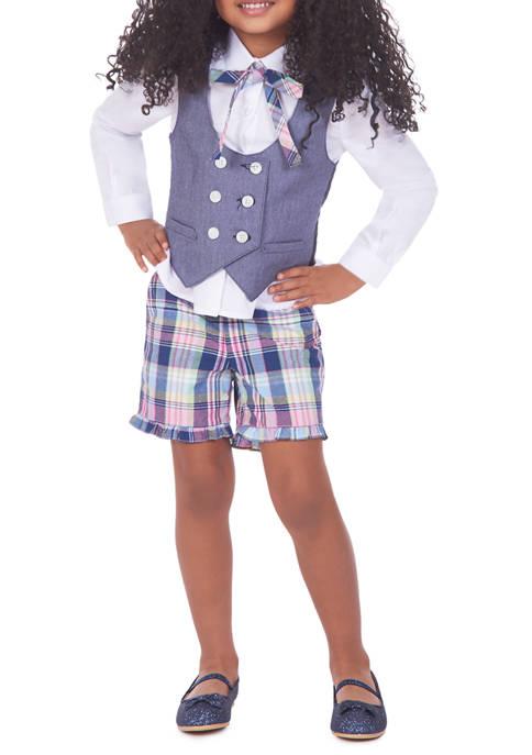 IZOD Girls 4-6x Plaid Shorts Vest Set
