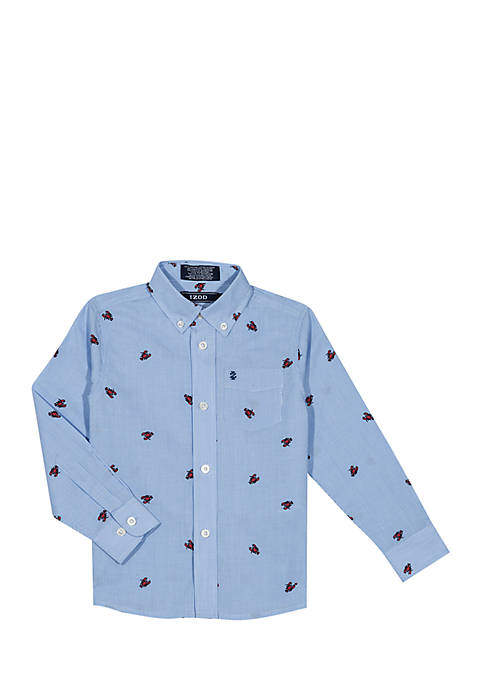 IZOD Boys 4-7 Long Sleeve Lobster Stretch Woven