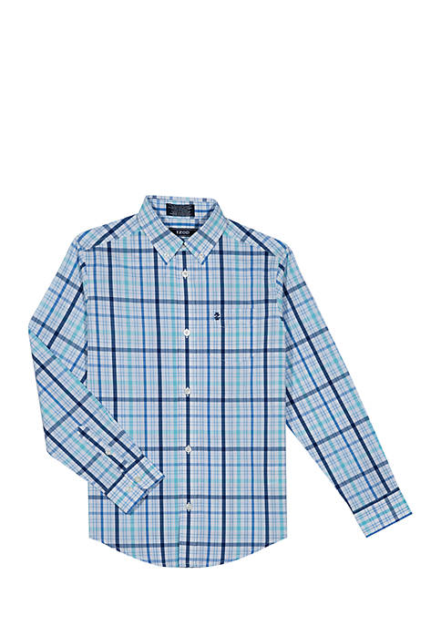 IZOD Boys 2-7 Long Sleeve Vineyard Stretch Plaid