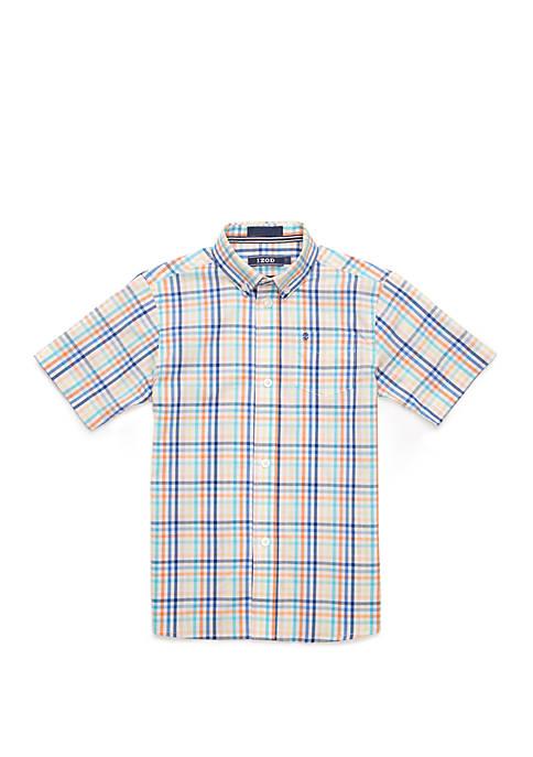 Boys 4-7 Stretch Roadmap Gingham Shirt