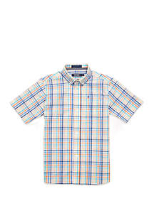 IZOD Boys 4-7 Stretch Roadmap Gingham Shirt