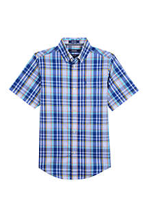 IZOD Boys 4 -7 Short Sleeve Stretch Bluff Plaid Shirt