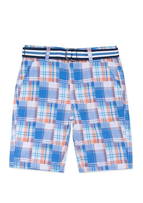 Boys 4-7 Patchwork Plaid Shorts