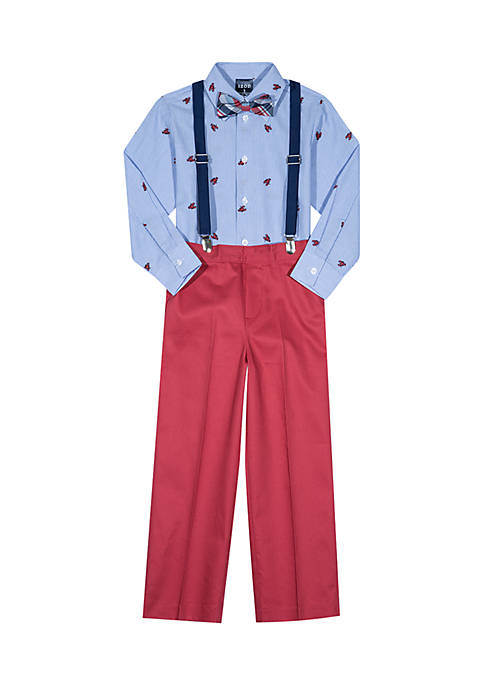 IZOD Toddler Boys Lobster Bow Suspender Pants Set
