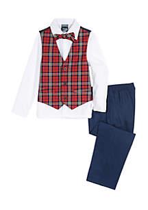 Boys 4-7 Plaid Vest Bow Tie Set