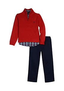 Boys 8-20 Quarter Zip Sweater Navy Twill Set