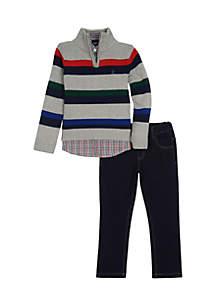 Boys 8-20 Stripe Quarter Zip Plaid Denim Set