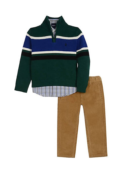 Boys 4-7 Green Chest Stripe Corduroy Set