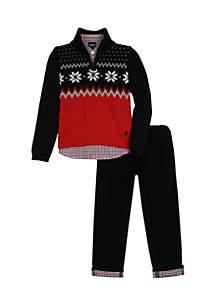 Boys 4-7 Fairisle Sweater Roll Corduroy Set
