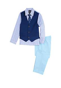 IZOD Boys 4-7 Solid Twill Vest Set