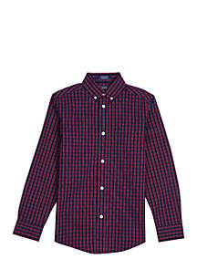 Boys 8-20 Preppy Plaid Stretch Woven Shirt