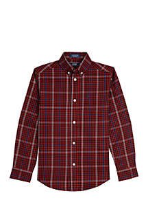 Boys 8-20 Triple Stripe Plaid Stretch Woven Shirt