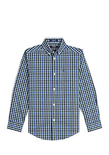 Boys 8-20 Classic Plaid Stretch Woven Shirt