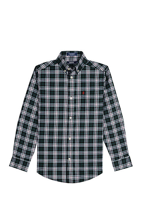 Boys 8-20 Highland Plaid Stretch Woven Shirt