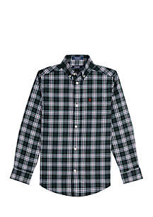 Boys 8-20 Highland Plaid Stretch Woven Shirt