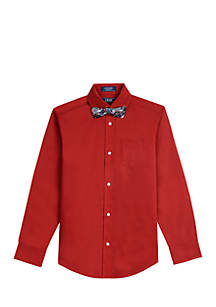 Boys 8-20 Solid Stretch Woven Button Down with Bow Tie