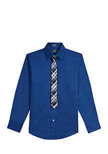 Boys 8-20 Solid Stretch Woven Button Down with Tie
