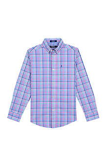 IZOD Boys 8-20 Road Map Plaid Shirt