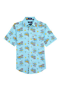 b737d1f95 ... IZOD Boys 8-20 Short Sleeve Palm Tree Printed Shirt