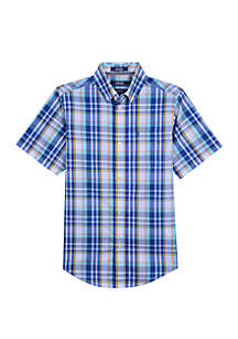 IZOD Boys 8 -20 Short Sleeve Bluff Plaid Shirt