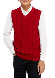 IZOD Boys 8-20 Solid Cable Sweater Vest