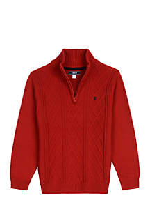 Boys 8-20 Solid Cable 1/4 Zip Sweater