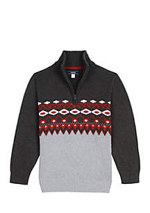 Boys 8-20 Fairisle 1/4 Zip Sweater