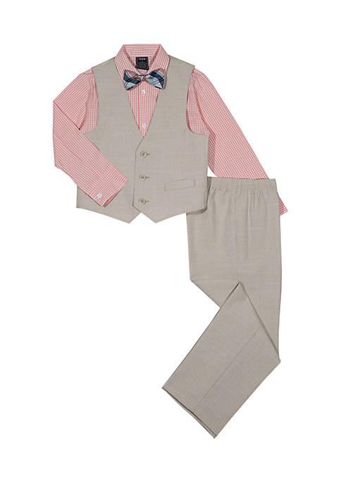 Boys 8-20 Khaki Linen Vest Set
