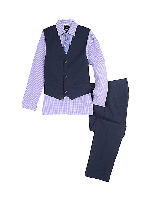 Boys 8-20 Heather Poplin Vest Set