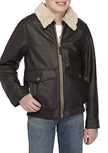 Boys 8-20 Pleather Moto Jacket
