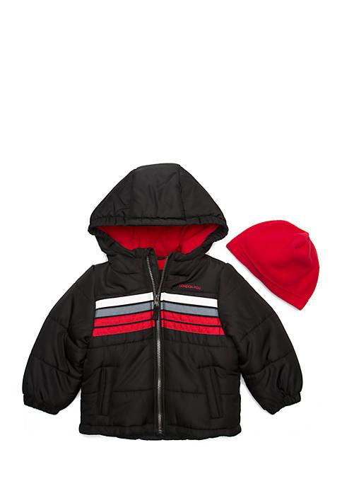 e2907eff9 London Fog® Boys 4-7 Chest Stripe Puffer Jacket with Hat